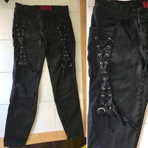 Tripp Gothic Black Skinny Jeans w Lace Up Detail